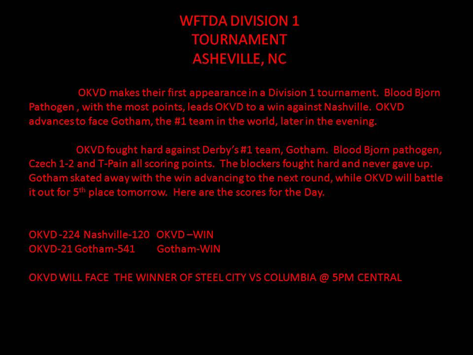 WFTDA DIVISION 1 TOURNAMENT ASHEVILLE, NC